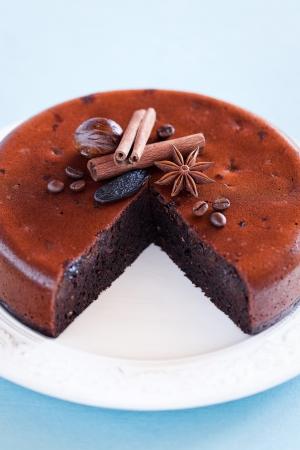 Chocolate, prunes and oatmeal cake, selective focus Stock Photo - 15840018