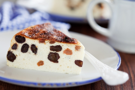 Cottage cheese cake with raisins, selective focus photo