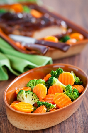 Salad of boiled carrots and broccoli with spicy orange dressing Stock Photo - 16295886
