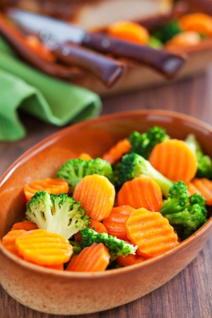 Salad of boiled carrots and broccoli with spicy orange dressing Stock Photo - 16295569