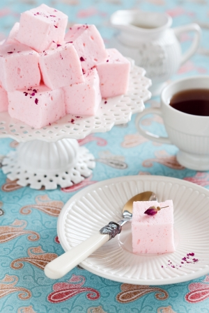 cake stand: Homemade vanilla and rosewater marshmallows, selective focus