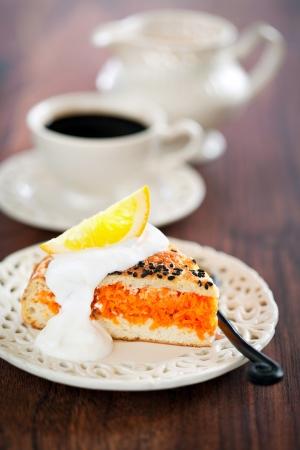 Pie with pumpkin, carrots and orange, selective focus