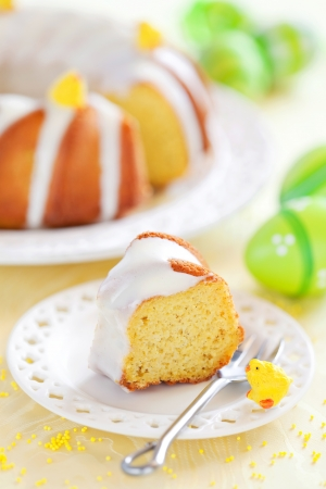 Slice of lemon cake, selective focus photo