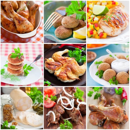 Collage of different chicken dishes - baked chicken legs, cutlets, fillet, sausage, shashlik Stock Photo - 19556676