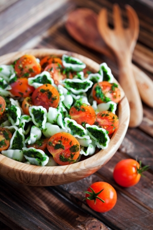Cherry tomatoes with gluten-free pasta and spinach sauce, selective focus Stock Photo - 19556672