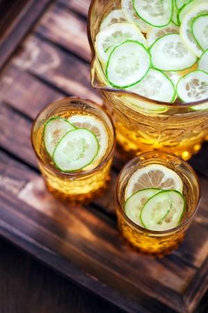 Cucumber, lemon and ginger lemonade, selective focus photo