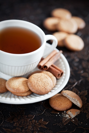 Homemade cookies with cinnamon and a cup of tea, selective focus Stock Photo - 21576726