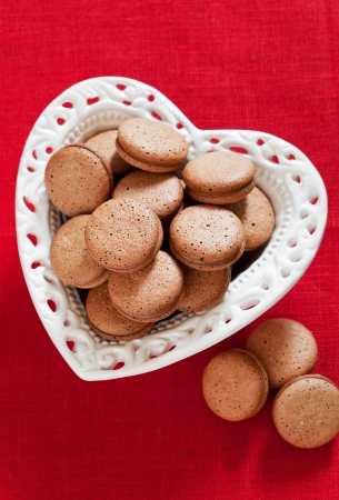 Heart shaped plate with homemade cookies, selective focus Stock Photo - 23948359