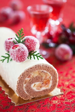 yule: Swiss roll with cinnamon and apples, selective focus
