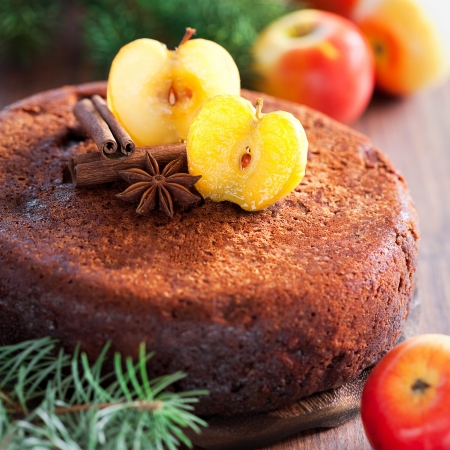 spice cake: Chocolate apple and spice cake, selective focus