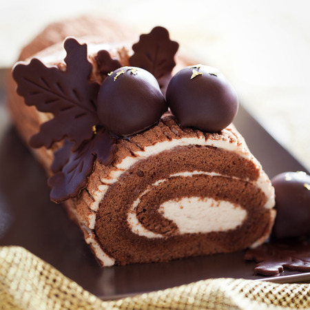 Traditional Christmas Yule Log cake decorated with chocolate chestnuts, selective focus Stock Photo
