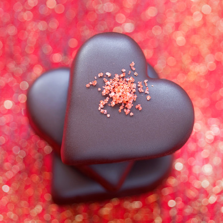 Valentines Chocolate candy heart, selective focus photo