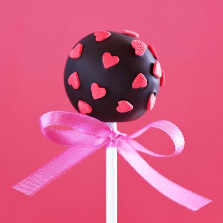 Valentines chocolate cake pops, selective focus photo
