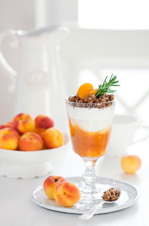 Yogurt with granola and apricots, selective focus photo