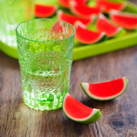 jello: Jello Shots (jelly in lime peel) selective focus Stock Photo