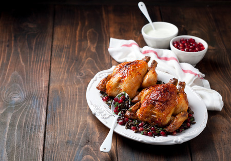 Roasted chicken with wild rice, cilantro and pomegranate garnish, selective focus Stock Photo