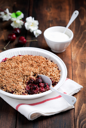 flax seeds: Berries, oat bran and flax seeds crumble, selective focus