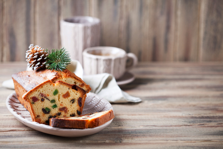Traditional fruitcake for Christmas, selective focus
