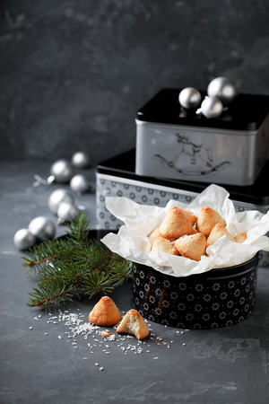 baking christmas cookies: Coconut macaroon in gift box for Christmas, selective focus