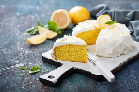 Lemon almond gluten free cake with cream cheese frosting, selective focus Stock Photo
