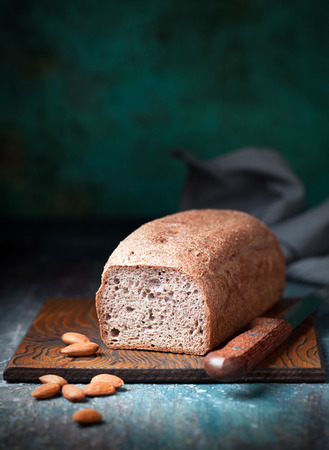 psyllium: Gluten free loaf bread made with almond and coconut flour, selective focus