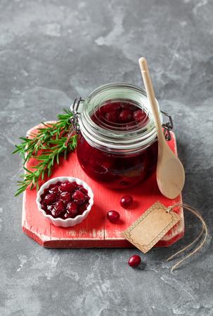 Homemade cranberry jam, selective focus