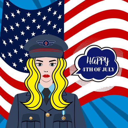 Happy 4th of July USA Independence Day greeting card with waving american national flag and hand lettering text design. Vector illustration. A beautiful, confident blond woman - pilot, soldier, captain in US Army. Flat Character. Иллюстрация