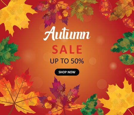 Autumn Sale up To 50 % Banner Illustration with Watercolor Effect Leaves.Autmn, fall orange background with the colorful leaves with the watercolor effect. Banner, Flyer, Poster, Vector Template, Card