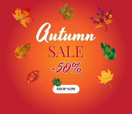 Autumn, Fall Sale Background Layout with leaves. Promo, sales poster, web banner, flyer. Vector illustration template.
