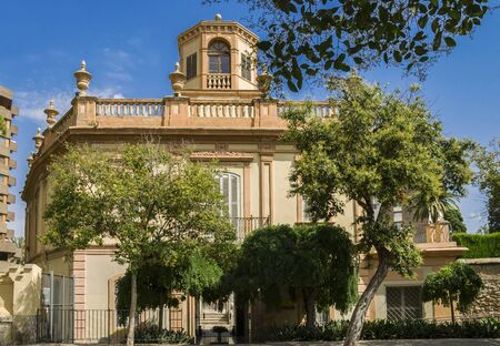 Valencia, Spain-07/20/2019:Monforte Garden - Jardines de Monforte. A neoclassic design full of statues, pools, fountains, walkways and rest areas.