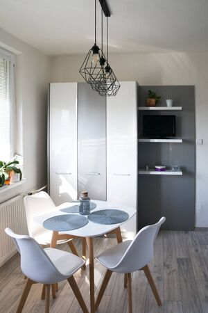 Scandinavian Minimalism Home White Kitchen Design Modern Stock Photo Picture And Royalty Free Image Image 144420747
