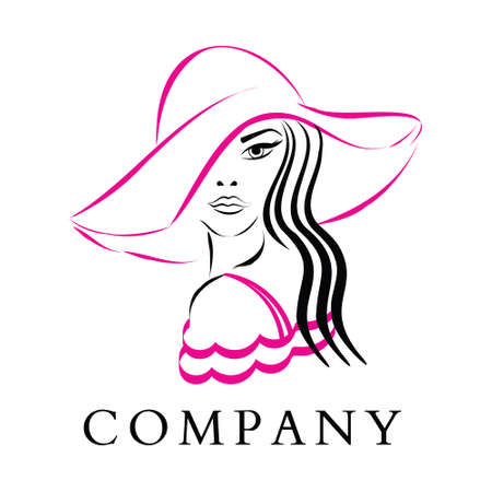 Vector Fashion and Beauty Logo - A Pretty Woman Wearing a Fashion Pink Hat and Dress. A Hand drawn, Elegant Logo for Beauty Salon, Boutique, Hair Dresser, Stylist, Fashion Designer, Make up Artist