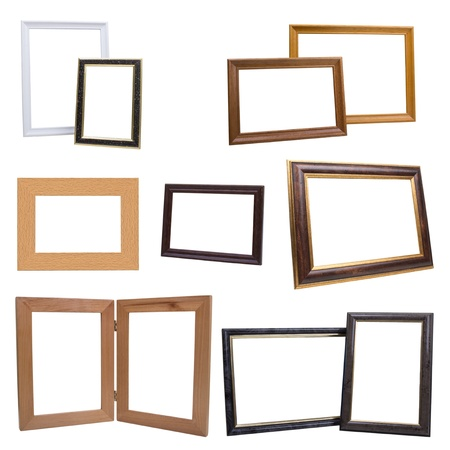 Set of wooden picture frames isolated with clipping path  photo