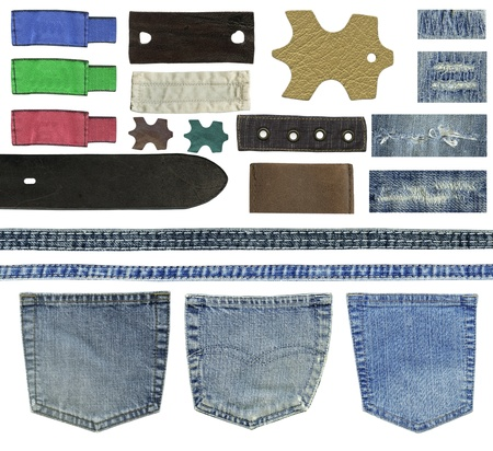 Blank leather jeans labels, buttons, straps isolated on white background  Stock Photo