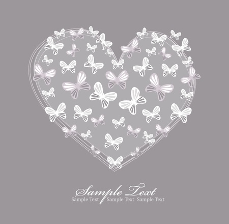 Valentines day card with heart and butterfly Vector