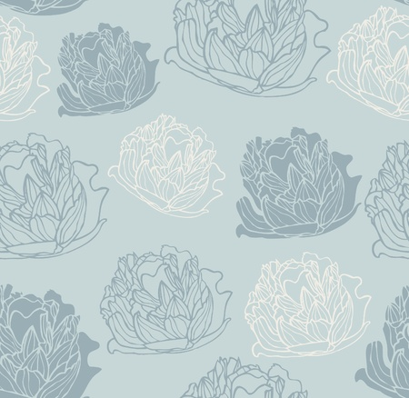 Seamless vintage peony pattern Vector