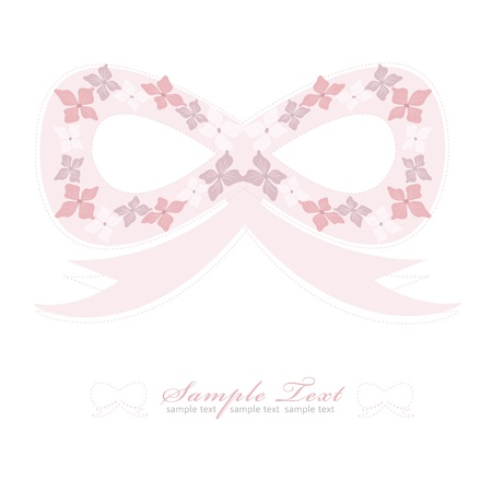 Romantic Pink Flower bow Background Vector