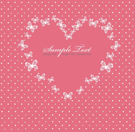 Pink Valentines day card with heart Vector