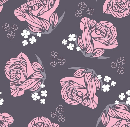 Seamless vintage rose pattern Vector