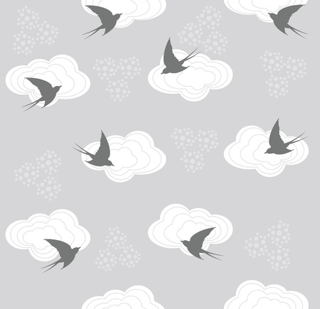 Cute seamless swallow and cloud pattern Stock Vector - 9087397