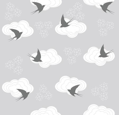 golondrina: Linda Golondrina transparente y nubosidad Vectores