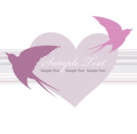 Valentines day card with heart and swallow Vector