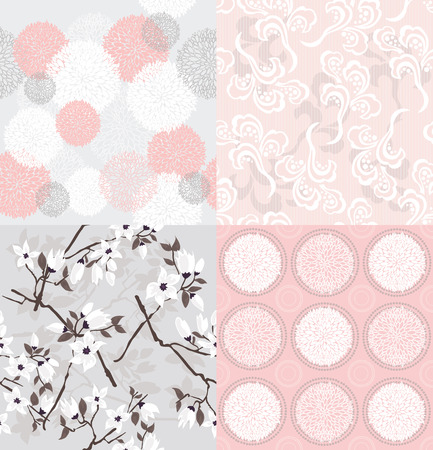 paeony: Set of seamless floral patterns