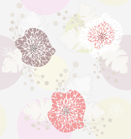 paeony: Cute pastel spring floral pattern Illustration