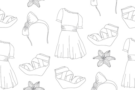 wedge: Hand drawn cute fashion seamless pattern with dresses, wedge sandals, headbands and flowers. Illustration