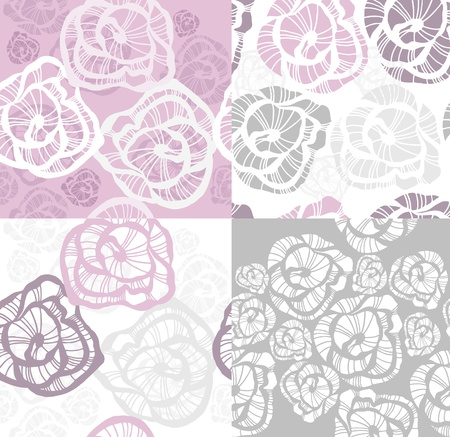 paeony: Abstract seamless flower rose pattern set.