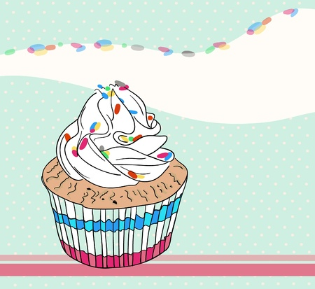 Cute birthday card with cupcake Vector