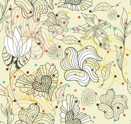 Abstract seamless doodle flowers and hearts pattern with dots Illustration