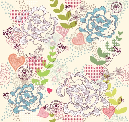 Cute colorful seamless pattern with flowers and hearts