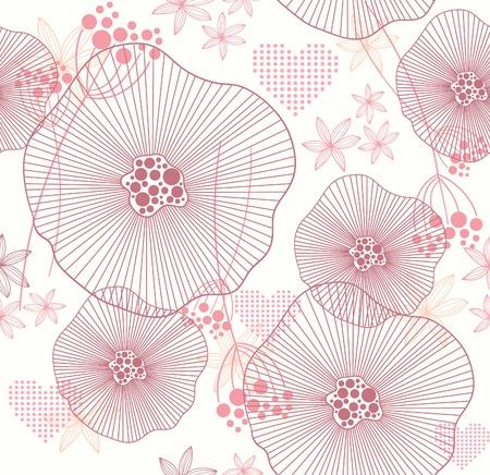 Śliczne różowe szwu z kwiatami i serc